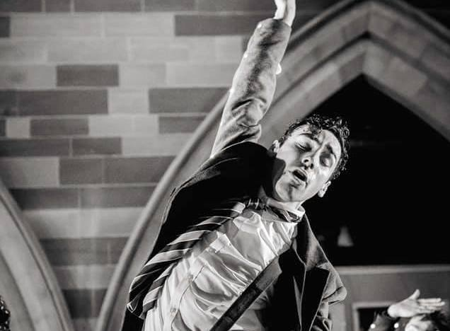 Actor performing on stage at The Hub at St Mary's Lichfield