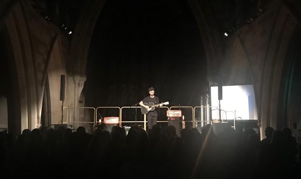 Charlie Barnes playing on stage at The Hub at St Mary's Lichfield