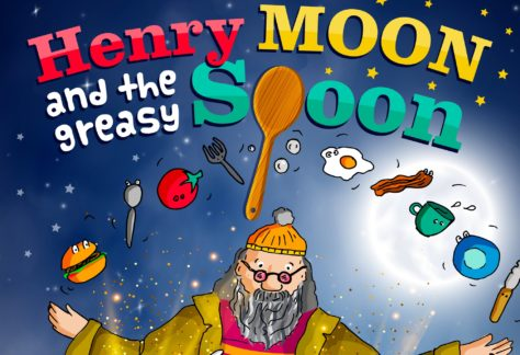 illustration of main character in Henry Moon and the Greasy Spoon juggling breakfast items - The Hub at St Mary's Lichfield