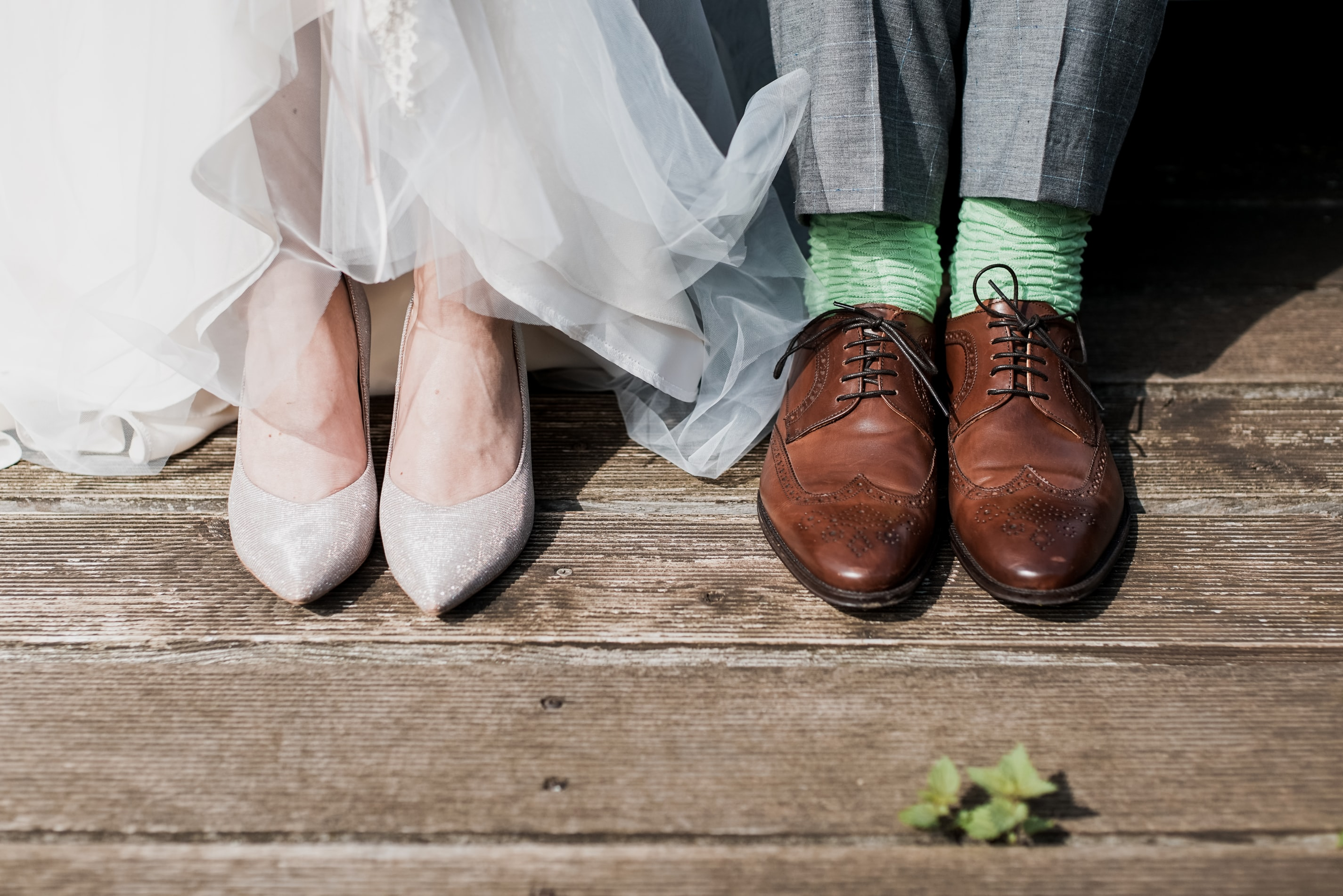 bride and groom's feet at The Hub at St Mary's Lichfield