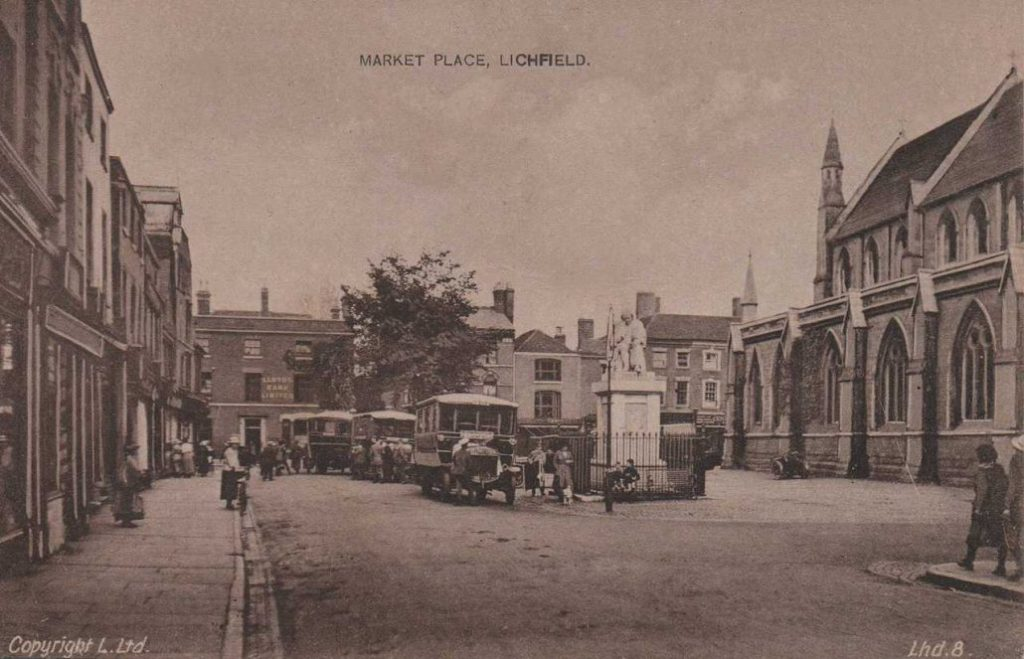 Archive photo of MArket place and St Mary's church now The Hub at St Mary's Lichfield