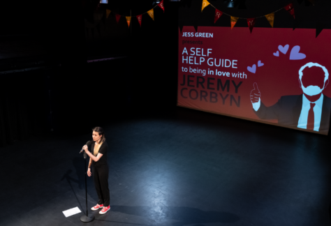 Poet & Musician, Jess Green on stage during her show about Jeremy Corbyn coming to at The Hub at St Mary's Lichfield