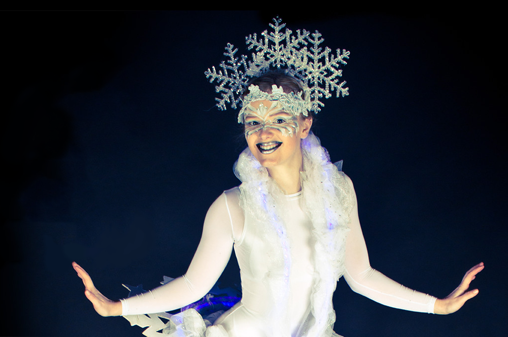 Actor dressed as a snowflake at Christmas Show for kids at The Hub at St Mary's