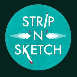 Strip n Sketch logo - burlesque life drawing class lichfield